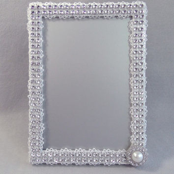 Rhinestone and Lace Frame 5X7 Silver With White Lace, Rhinestone & Pearl Embellishment Wedding Frame, Table Number, Card, Guest Book Custom