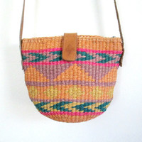 Small Woven Sisal Crossbody Handbag Pouch Purse Leather Shoulder Strap