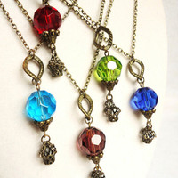 Hot Air Balloon Necklace, Colorful Steampunk Balloons
