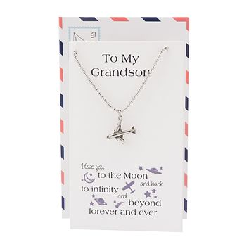 Fin Airplane Necklace, I Love You to the Moon and Back Grandson Gifts, Happy Birthday Cards