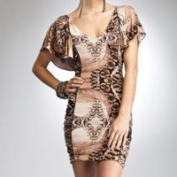 bebe Snake Ruched Panels Dress - bebe Addiction