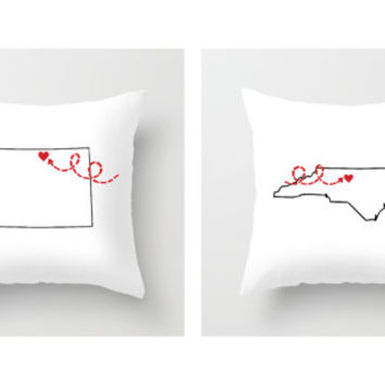 Two States Love Throw Pillows, Pillow Cover Set, Pillows, Decorative Pillows, Outdoor Pillows, 20x20, 18x18, Pillow Sham, 16x16