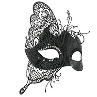 Coxeer Womens Masquerade Mask Butterfly Shape Laser Cut Metal Mardi Gras Mask (Black)