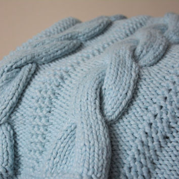 Cable Knit Blanket / Sky Blue Knitted Afghan / Couch Throw