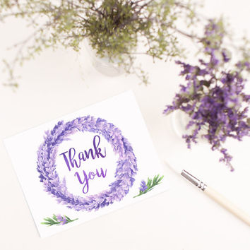 Hand Painted Lavender Wreath Blank Thank you card template digital printable instant download file floral branches purple greeting card