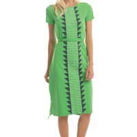 Triangle Stitch Half Sleeve Tatiana Dress in Vibrant Green