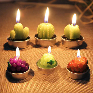 6pcs/set Mini Cactus Scented Candles