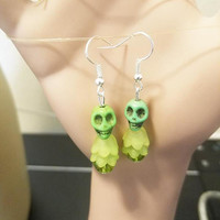 green skull flower earrings sugar skull earrings turquoise skull bead dangles skeleton jewelry day of dead handmade