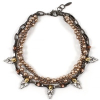 London Calling Skull & Crystal Necklace W/Pearls - Hematite/Gold/Rose Gold Spikes/Brown Pearls