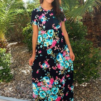 Magical Moments Navy Blue Floral Print Maxi Dress