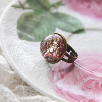 Resin Heather Flower Ring, Vintage Bronze Floral Ring, Anniversary Engagement Ring, Rustic Wedding, Terrarium Ring, Preserved in Resin
