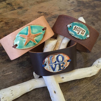 Love, Rustic Leather Cuff, Beach Boho, Surfer Girl Jewelry by Two Silver Sisters