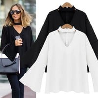 Women Autumn Winter Bat Sleeve Chiffon Shirt V-Neck Long Sleeve Blouse with Neck Choker