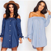 Butterfly Hot Sale Autumn Stylish Sexy Long Sleeve Denim One Piece Dress [6446618820]