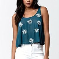 LA Hearts Beaded Embroidered Cropped Top - Womens Shirts