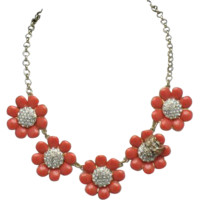 Vintage KATE SPADE Orange Enamel Flower Bumble Bee Necklace