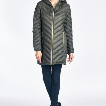 Michael Kors Herringbone Hooded Down Puffer Coat