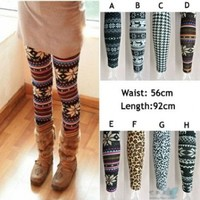 New Womens/girls Nordic Snow Knitted Warm Leggings Tights Pants:Amazon:Clothing