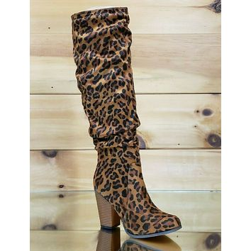 """C & C Leopard Fabric Knee Boots Slouch Chunky Style 3.5"""" High Heel Boot"""