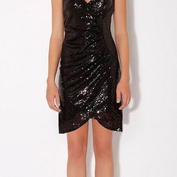 Wrapped Black Cami Sequin Dress