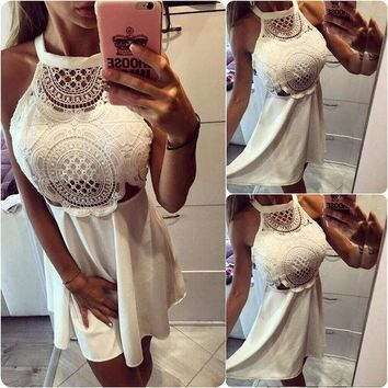 CREYHY3 Gagaopt 2016 Women Sexy Hollow Lace Dress Solid Mini Pleated Halter Neck Dress Vestidos Women Vintage Harajuku Party Loose Robes