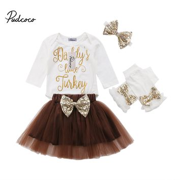 2018 Kids Baby Girls DADDY'S LITTLE TURKEY Long Sleeve Romper+Sequin Tutu Tulle Skirt 4PCS Thanksgiving Baby Clothes Outfits Set