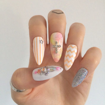 Pastel neon long glue on nails pink peach white holographic chevron cross nails