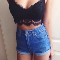 Lace Shoulder Strap Hollow Vest Tank Top Cami