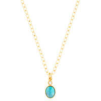 Oval Pendant Necklace, Turquoise, Small, Pendant Necklaces
