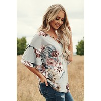 Nevertheless Floral Top (Grey)