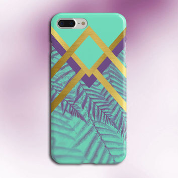 Faded Chevron Purple x Gold Palms Phone Case, iPhone 7, iPhone 7 Plus, Rubber iPhone Case, Galaxy s8, Samsung Galaxy s8 Plus, Google Pixel