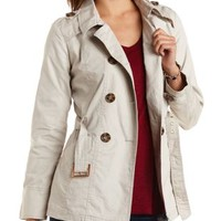 Twill Trench Coat with Belt by Charlotte Russe