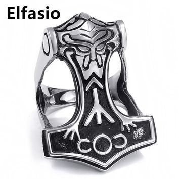 Mens Boys Stainless Steel Ring Norse Thunder God Viking Thor's Hammer Biker Fashion Jewelry Size 8-13