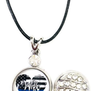 "USA Flag Heart Officer Wife Thin Blue Line Snap on 18"" Leather Rope Diamond Pendant Necklace W/ Extra 18MM - 20MM Snap Charm"