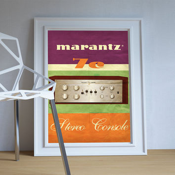 Marantz 7c Audiophile Amplifier Original Illustration Vintage Style Ad Poster Giclee Print on Cotton Canvas and Paper Canvas Wall Decor