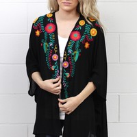 Sunshine + Floral Embroidered Kimono {Black} EXTENDED SIZES