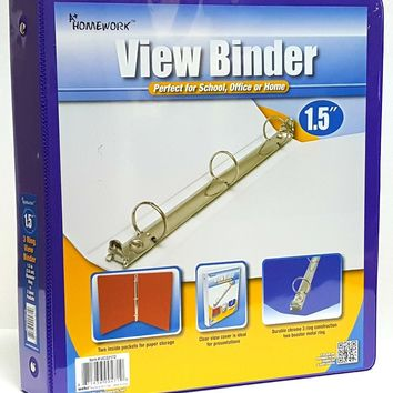 """1.5"""" Clear View Pocket Binder - Purple - CASE OF 12"""