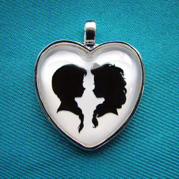 Anna and Elsa Frozen Heart Silhouette Cameo Pendant Necklace
