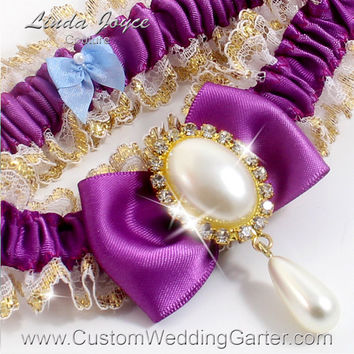 "Purple and Gold WEDDING GARTER Pearl Bridal Garter ""Victoria"" 541 Helio Purple Prom Garter Plus Size Available"
