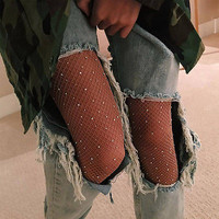 New Women Crystal Rhinestone Fishnet Elastic Stockings Fish Net Tights Pantyhose