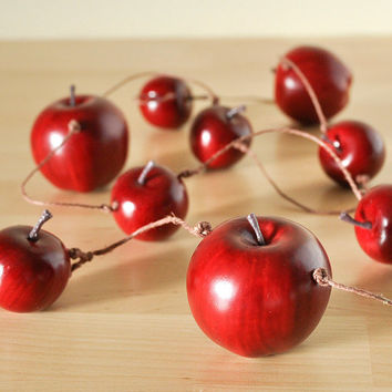 Apple Garland Home Decor for Teacher's Gift, Autumn Woodland Weddings or Rustic Back to School or Birthday Parties - 4 feet-