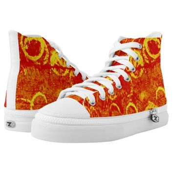 red-yellow High-Top sneakers