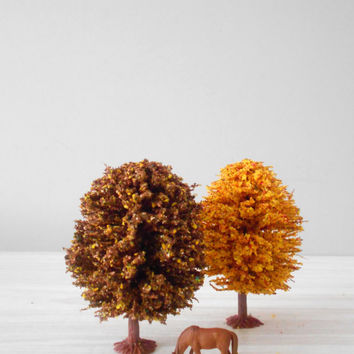 miniature autumn fall trees // terrarium // set of 4
