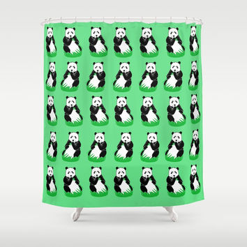 Panda Pattern Art Shower Curtain by Artist Abigail