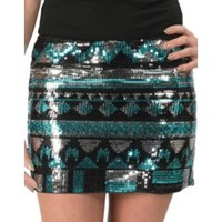 Rock & Roll Cowgirl Women's Turquoise, Black & Silver Sequin Aztec Mini Skirt