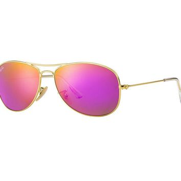 Ray Ban Cockpit Sunglasses Matte Gold Frame/Pink Cyclamen Mirror Lens