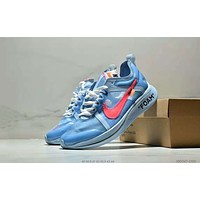 OFF-WHITE x NIKE ZOOM FLY co-branded 2018 new marathon men's sneakers lightweight morning running shoes blue