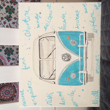 Volksvagen Hippie Bus Van Hand Painted Canvas 11x14