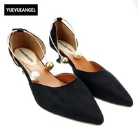 Sweet Girl Ankle Strap Pointed Toe Faux Suze Solid Shoes For Womens Pearl Design Party Dress Shoes Buckle Sandals Woman