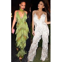 Amazing Rihanna or Kylie Fashion Fringe Jumpsuit RK121